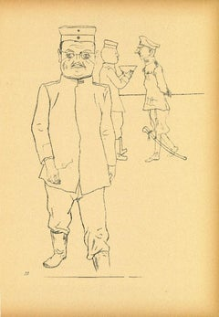General from Ecce Homo - Original Offset and Lithograph by George Grosz - 1923
