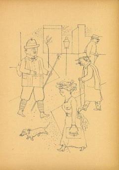 Greeting - Original Offset and Lithograph by George Grosz - 1923