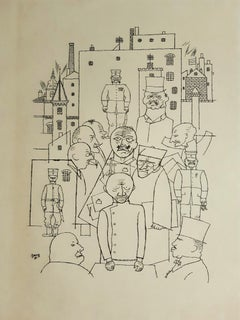 He Made Fun of Hindenburg - Original Lithograph by George Grosz - 1920
