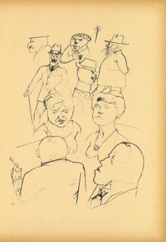 Homeland Figures - Original Offset and Lithograph by George Grosz - 1923