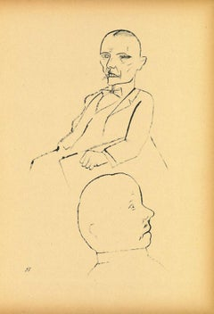 In Thought - Original Offset and Lithograph by George Grosz - 1920