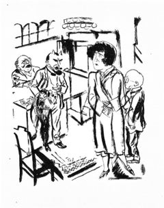 Interrogation - Original Lithograph and Offset by George Grosz - 1925