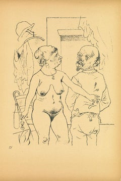 Nude - Original Offset and Lithograph by George Grosz - 1923