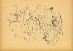 Studies - Original Offset and Lithograph by George Grosz - 1923