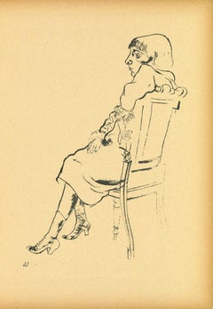 Study - Original Offset and Lithograph by George Grosz - 1923