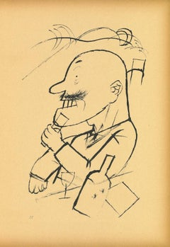 The Absolute Monarchist - Original Offset and Lithograph by George Grosz - 1923