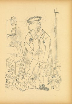 The Hypochondriac - Original Lithograph and Offset by George Grosz - 1923