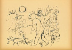 The obsessed Forstadjunkt - Original Lithograph and Offset by G. Grosz - 1923