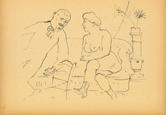 The Visit - Original Offset and Lithograph by George Grosz - 1923