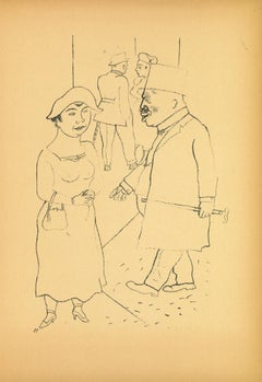 The walk - Offset and Lithograph by George Grosz - 1923