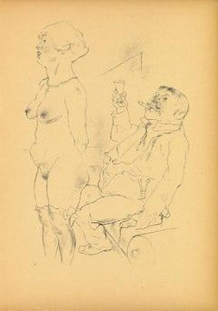 Undressing - Original Offset and Lithograph by George Grosz - 1923