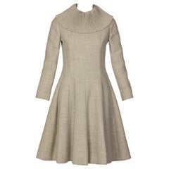 George Halley Tailored Gray Wool Pleated Ruff Collar Dress