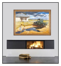George Hallmark Large Original Oil Painting On Board Signed Landscape Framed Art