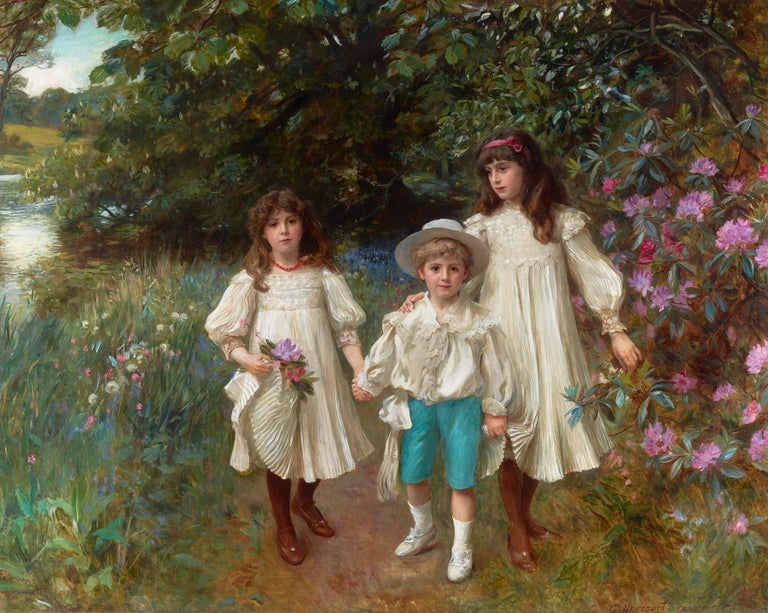 Capturing childhood innocence at its most pristine is this monumental, original oil painting by important Scottish portraitist George Harcourt. With his soft, fluid brushwork and a vibrant color palette, the artist presents these siblings with the