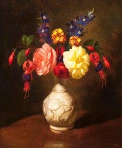 Still Life of Flowers in a White Vase