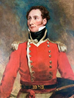19th Century Military Portrait Painting of a Senior Officer in a Red Tunic,