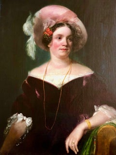 19th Century Oil Portrait Painting of Lady Clarke by George Henry Harlow R.A.