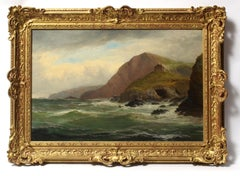 Antique English Oil Painting Seascape Jenkins Gold Frame Realist