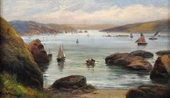 Salcombe harbour over Black Stone Rock, Devon. Original oil painting circa 1880