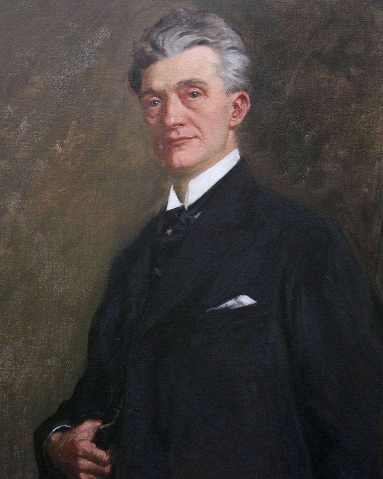 Portrait of a Gentleman - Scottish 1920s art 'Glasgow Boy' artist oil painting  - Realist Painting by George Henry
