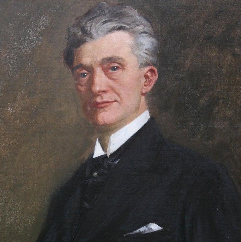 Portrait of a Gentleman - Scottish 1920s art 'Glasgow Boy' artist oil painting  - Black Portrait Painting by George Henry
