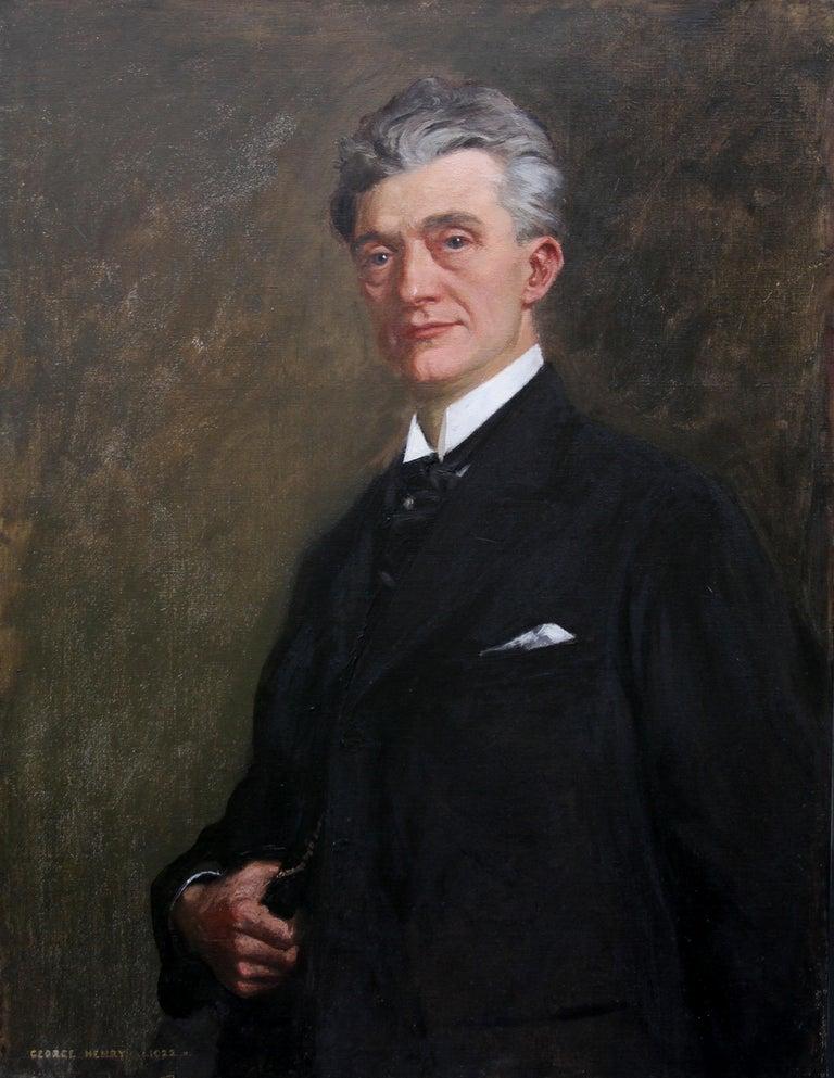 Portrait of a Gentleman - Scottish 1920s art 'Glasgow Boy' artist oil painting  For Sale 3