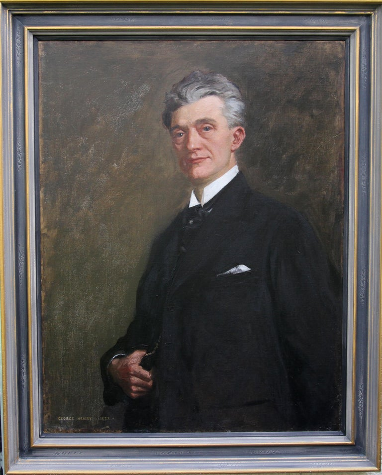 Portrait of a Gentleman - Scottish 1920s art 'Glasgow Boy' artist oil painting  For Sale 4