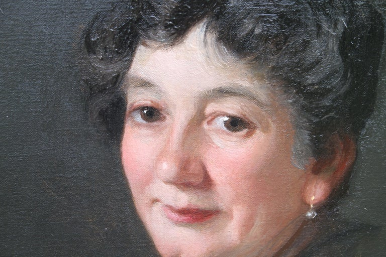 Portrait of a Woman - Scottish 1920s art 'Glasgow Boy' artist  oil painting  - Black Portrait Painting by George Henry