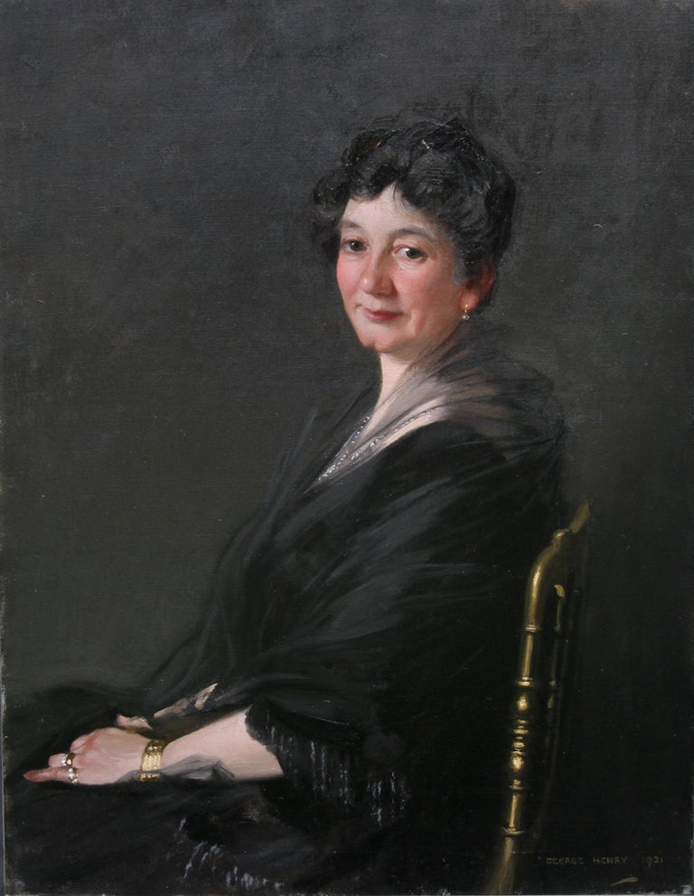 Portrait of a Woman - Scottish 1920s art 'Glasgow Boy' artist  oil painting  4