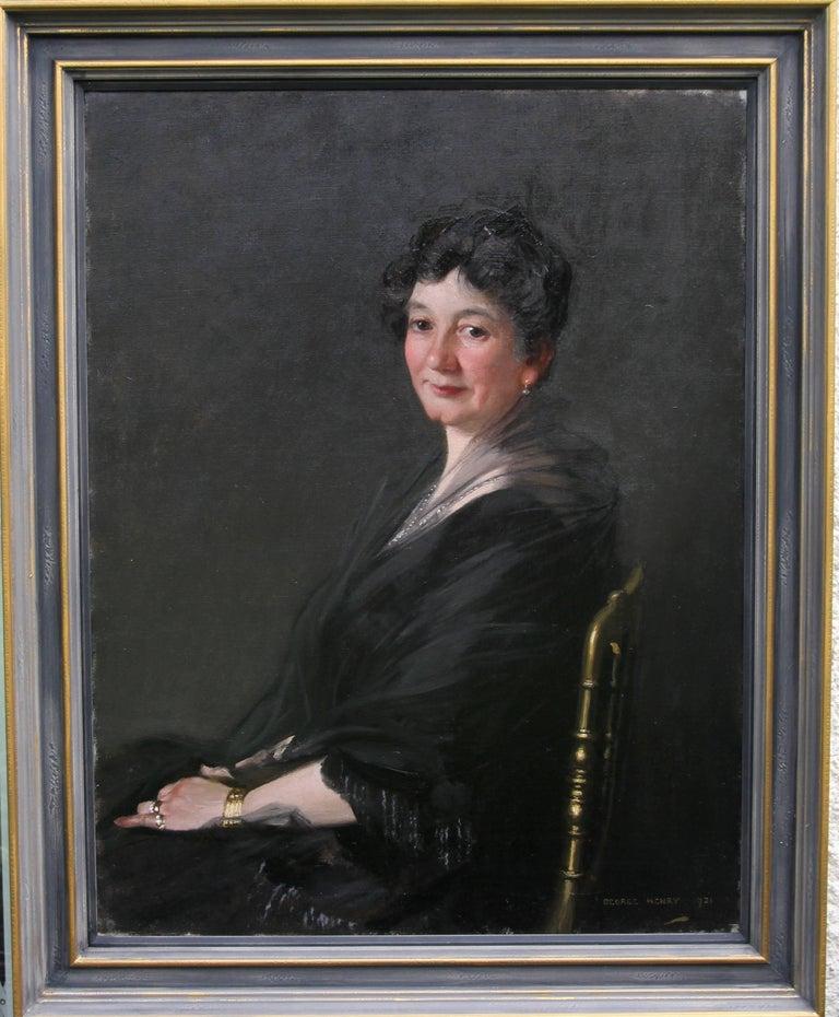 George Henry Portrait Painting - Portrait of a Woman - Scottish 1920s art 'Glasgow Boy' artist  oil painting