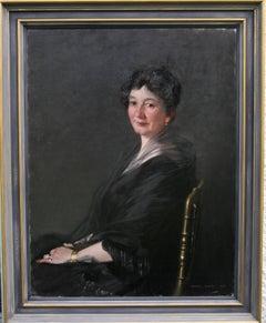 Portrait of a Woman - Scottish 20s Glasgow Boy art oil painting lady black dress
