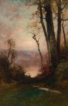 """Path to the Lake,"" George Smillie, Hudson River School, Tonalism Landscape"