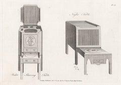 Bidet Shaving and Night Tables, Hepplewhite Georgian furniture design engraving
