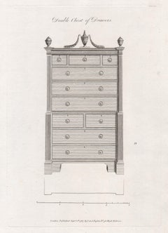 Double Chest of Drawers, Hepplewhite Georgian furniture design engraving