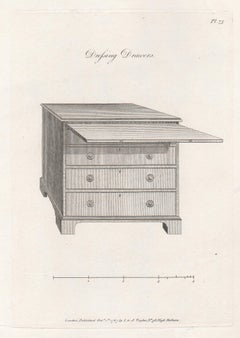 Dressing Drawers, Hepplewhite Georgian furniture design engraving