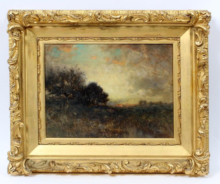 George Herbert McCord Hudson River Luminous Tonalist Oil Painting Moorlands - Beige Landscape Painting by George Herbert McCord