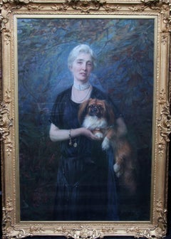 Ann Charlton Harrison - British oil painting portrait lady Pekinese dog art