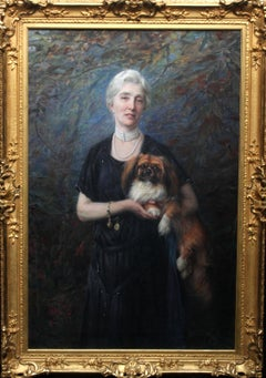 Portrait of Ann Charlton Harrison - British 1900 art oil painting Pekingese dog