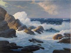 Antique American Impressionist Large Crashing Waves Coastal Seascape Painting