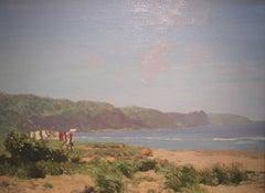 Beach scene painting of Iona Scotland 'Washing Line' by George Houston