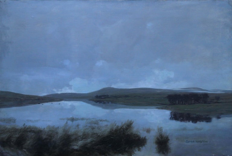 Scottish Loch - Scottish Victorian Impressionist art landscape oil painting  - Painting by George Houston