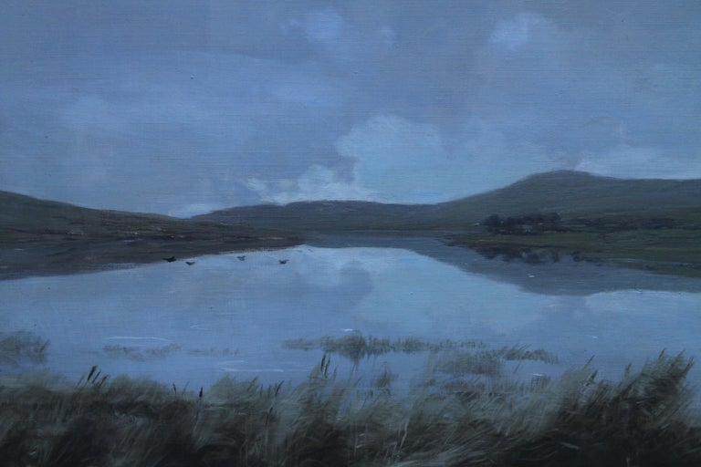 Scottish Loch - Scottish Victorian Impressionist art landscape oil painting  - Blue Landscape Painting by George Houston