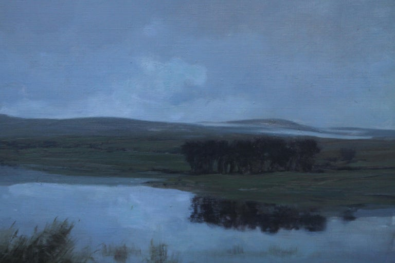 This lovely landscape is an original Scottish oil painting by noted Glasgow artist George Houston RSA. The painting depicts a Scottish loch, possibly Loch Fyne. There are fantastic Impressionistic tones and wonderfully depicted reflections of a