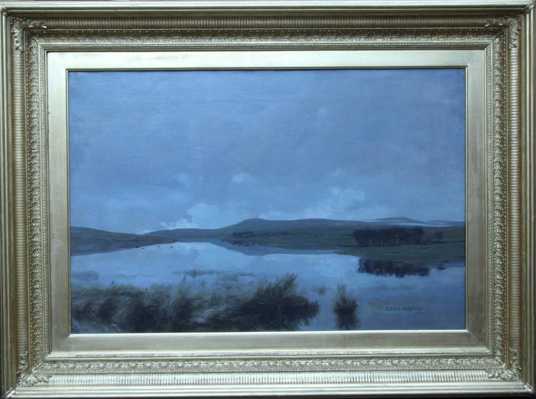 George Houston Landscape Painting - Scottish Loch - Scottish Victorian Impressionist art landscape oil painting