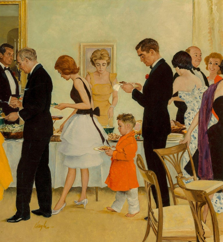 George Hughes Interior Painting - Dinner Party, Saturday Evening Post Cover, November 1961