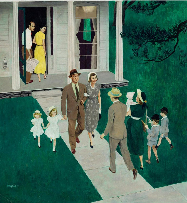 George Hughes Figurative Painting - Sunday Afternoon Callers, Saturday Evening Post Cover, June 17, 1950