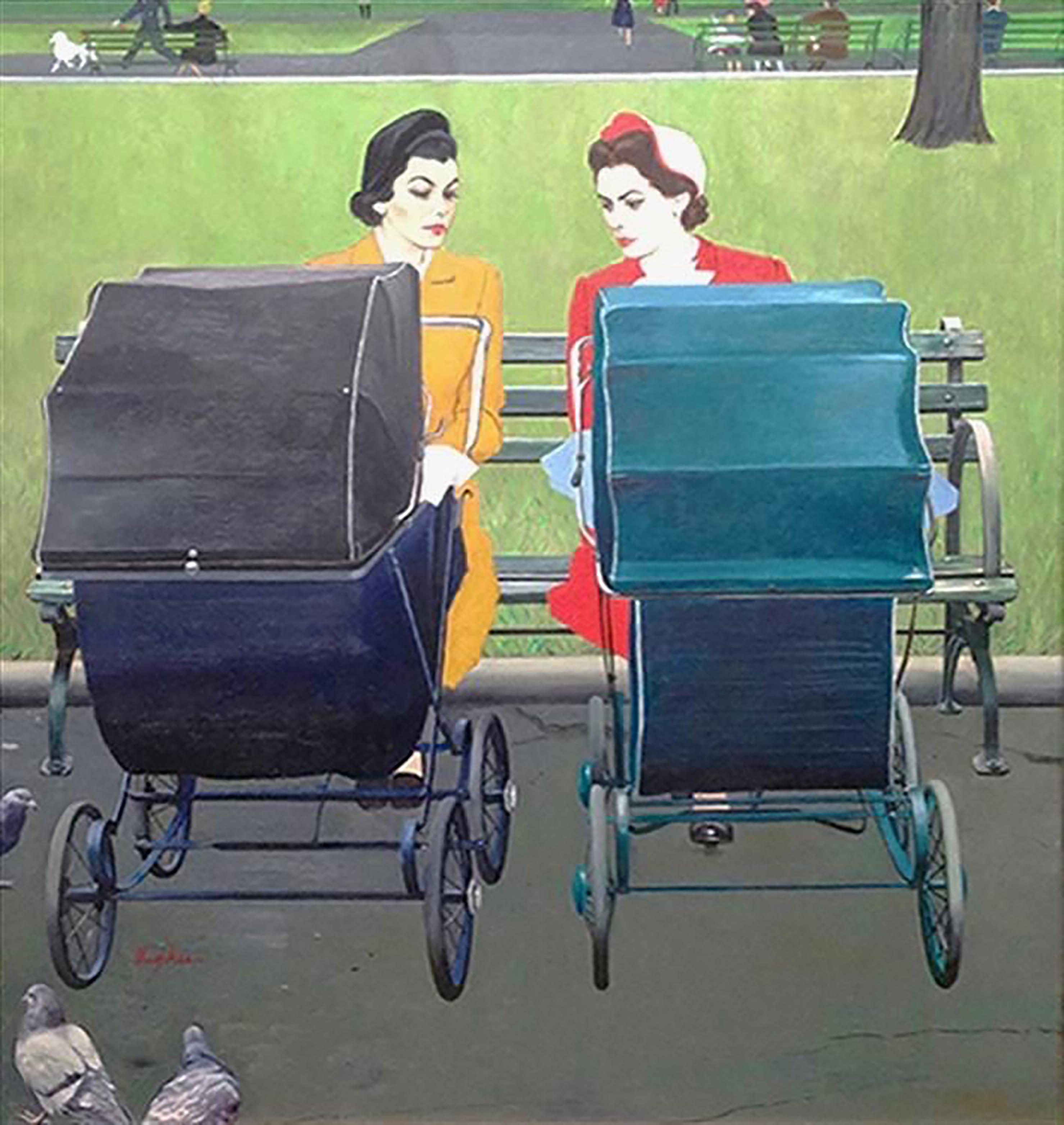 Two Women with Baby Carriages