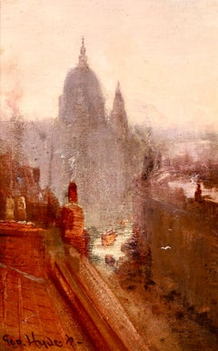 Above the Smoke - Impressionist Oil, Cityscape by George Hyde Pownall