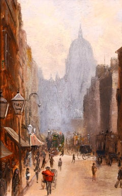 Fleet Street - Impressionist Oil, Figures in Cityscape by George Hyde Pownall