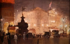Piccadilly Circus - Impressionist Oil, Cityscape at Night by George Hyde Pownall